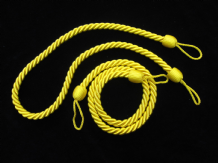 2 Rope curtain tiebacks  - Yellow   slender slinky cord drape tie back holdbacks